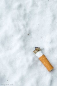 cigarette-butt-snow-winter