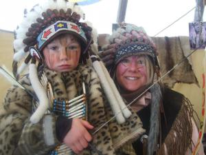 Dressing up as Indians on the La Piste des Indiens.