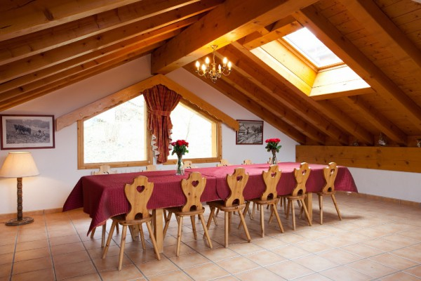 Large Dining area in fully catered chalet